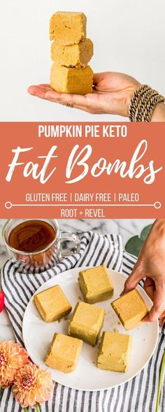 Chockfull of healthy fats and plant-based protein, these Pumpkin Pie Ketogenic Fat Bombs are dairy-free, gluten-free and Paleo, making them the perfect energy-giving snack, breakfast and even dessert! Gluten Free Desserts, Dairy Free Recipes, Low Carb Recipes, Whole Food Recipes, Snack Recipes, Breakfast Recipes, Diet Breakfast, Candy Recipes, Breakfast Ideas