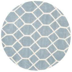 Safavieh Handmade Chatham Blue/ Ivory Wool Rug (5' Round)