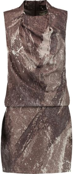 Halston Heritage Draped printed silk-twill mini dress