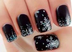 Best Winter Nails for 2018 - 45 Cute Winter Nail Designs - Best Nail Art Nail Art Designs, Black Nail Designs, Winter Nail Designs, Christmas Nail Designs, Nails Design, Holiday Nail Art, Winter Nail Art, Burgundy Nails, Purple Nails