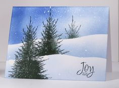 Three trees in snow tutorial Heather Telford - Snowy Scene Tutorial Card Making Tutorials, Card Making Techniques, Making Ideas, Watercolor Christmas Cards, Watercolor Cards, Xmas Cards, Holiday Cards, Winter Karten, Winter Cards