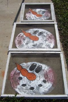 snowman old window screens | Painted Windows and Screens...