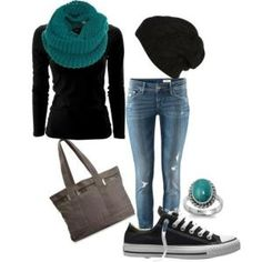 Skinny Jeans, Black Thermal, Tory Burch Flats, Black Beanie, and Infinity scarf