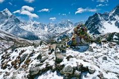 Himalayas, Nepal. Home of snow-capped mountains, colorful prayer flags, and Mt. Everest
