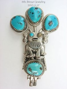 Estate-Sterling-Silver-925-Turquoise-Kachina-Pin-Pendant-Navajo-Signed-M-Ortiz