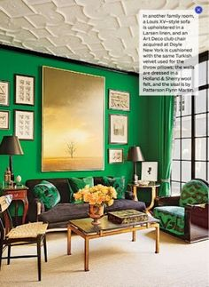 Architectural Digest August 2014 Review Green living room by miles redd