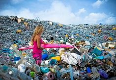 Incredible photos show mountains of plastic bottles washed in Maldives . Dark side of paradise: Alison Teal pictured with her surfboard while walking through mountains of rubbish on Thilafushi in the Maldives Save Planet Earth, Save Our Earth, Save The Planet, Our Planet, Salve A Terra, Mundo Cruel, Marine Debris, Save Our Oceans, Plastic Pollution