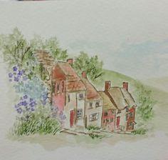 art impresssions watercolor, English village