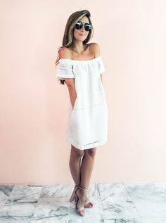 Lilly & Leopard- white off the shoulder dress with heels and sunnies. love the backdrop