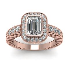 Vintage Jewelry with White Diamond in 14K Rose Gold    Emerald Cut Diamond Ring   