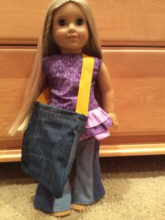 Jean material large tote for American Girl Dolls
