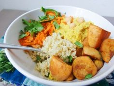 Mango Curry Hummus Quinoa Bowls with Tangy Carrot Slaw - Wendy Polisi
