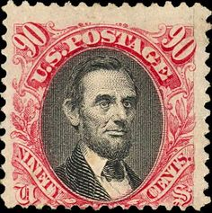 postage stamp, 90 cents, featuring a portrait of President Abraham Lincoln based on a photograph by Mathew Brady, issued From Wikimedia Commons. Rare Stamps, Old Stamps, Vintage Stamps, Abraham Lincoln, Postage Stamp Design, Rare Coins, Stamp Collecting, My Stamp, Portrait
