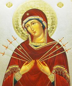 """MostHoly Mother of God of the """"Seven Sorrows"""" or """"Seven Arrows"""""""