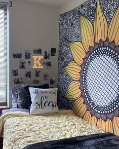 These are sometimes accents in interior decoration, sometimes elements that contribute to the balance of the room. Cute Room Ideas, Cute Room Decor, Sunflower Room, Sunflower Design, Yellow Sunflower, Tapestry Bedroom, Boho Tapestry, Mandala Tapestry, Aesthetic Room Decor
