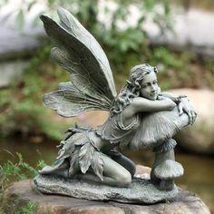 Impressive Fairy Garden Statue Fairy On Mushroom Napco Marketing  Corporation Outdoor Statuary Statues