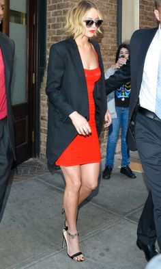Jennifer Lawrence Shows Off Her Toned Pins In A LRD - Thursday 13th November
