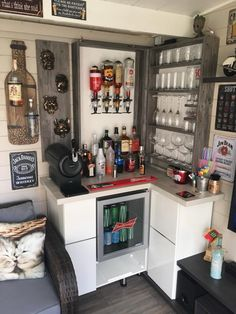 Not this style at all, but a corner/back wall bar could make the space work in the shed if we went for it. Wall Bar, Summer Diy, Liquor Cabinet, Shed, Corner, Space, Storage, Garden, Furniture