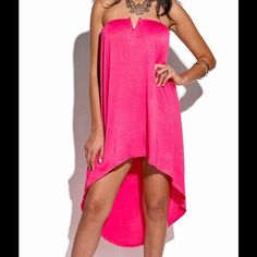 """Pink Strapless Dress #HT-04-HTPNK-M strapless cocktail dress. 95% rayon 5% spandex. Hand Wash. Made in USA. Measurements: Bust 34-36, Waist 27-29, Hip 36-38, Back length 37"""", Front length 23"""" W by Wenjie Dresses Strapless"""