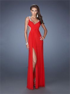 Red V-neck Beadings Side Slit Open Back Chiffon Prom Dress PD1288 www.homecomingstore.com $185.0000