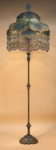 Victorian floor lamp with beaded fringe lamp shade
