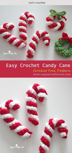Easy Crochet Candy Cane Free Guide - Knitting is as easy as . Easy Crochet Candy Cane Free Guide - Knitting is as easy as 3 Knitting boils down to three essential skills. Crochet Christmas Wreath, Crochet Wreath, Crochet Christmas Decorations, Crochet Ornaments, Crochet Decoration, Noel Christmas, Christmas Knitting, Simple Christmas, Christmas Wreaths