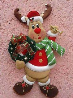 Several Christmas patterns -- Photo Christmas Clay, Christmas Mood, Christmas Crafts, Christmas Patterns, Felt Christmas Decorations, Xmas Ornaments, Felt Crafts, Diy And Crafts, 242