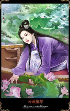 Lotus Pond by hiliuyun on DeviantArt Geisha Kunst, Geisha Art, Art Chinois, Lotus Pond, Zen Art, Creative Pictures, Fantastic Art, Ancient Art, Chinese Art