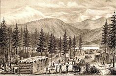 An old drawing made from description furnished by Wm. G. Murphy. camp at Donner Lake, November 1846.