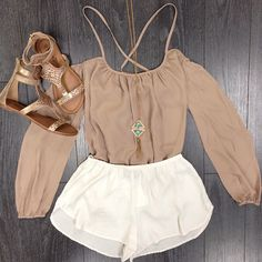 Perfect late summer - early fall. Add a pair of riding boots and a trench coat with a scarf and you have a perfect layered look!!