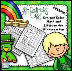 FREE! St. Patricks Day Cut and Color Math and Literacy for Kindergarten from TeacherTam on TeachersNotebook.com -  (10 pages)  - This set contains 10 pages of math and literacy practice in a color or cut-and-glue format. All of them have a St. Patrick's Day theme. They cover addition, place value, short vowel word families, sight words, and more!