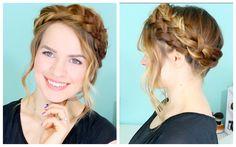 Crown braid hair tutorial braid crown tutorial, braids for short hair Braided Crown Hairstyles, Braided Hairstyles Tutorials, Box Braids Hairstyles, Cool Hairstyles, Braided Updo, Hairstyles Haircuts, Wedding Hairstyles, Short Hair Braids Tutorial, Braid Crown Tutorial