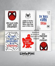 Spiderman birthday party decor, spiderman printable, set of 6 prints, nursery wall art, boy room dec Boys Superhero Bedroom, Superhero Baby Shower, Spiderman Bedrooms, Boys Room Decor, Kids Room, Big Boy Bedrooms, Boy Rooms, Diy Birthday Decorations, N21