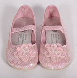 Bunnies Picnic - Coastal Projections Pale Pink Sequin Shoes with Beaded Flower - Boutique Clothing for Girls and Boys