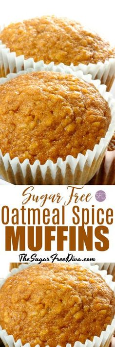 YUM - Sugar Free Oatmeal Spice Muffins a spicy recipe for autumn/fall Diabetic Friendly Desserts, Diabetic Snacks, Healthy Snacks For Diabetics, Low Carb Desserts, Diabetic Recipes, Dessert Recipes, Healthy Recipes, Easy Recipes, Sugar Free Deserts