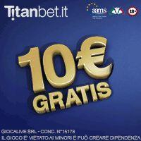 Gioca a Poker e Slot Casinò con Titanbet .it e ricevi subito 10€ gratis più Bonus Benvenuto con il primo deposito fino a 1.000euro, e in altri casi Bonus altissimo fino a 2.000 euro. Registrati oggi stesso e Sbanca il Casinò Online con in palio il Jackpot Milionario. Clicca qui >>> http://casino-on-line-sicuri.com/