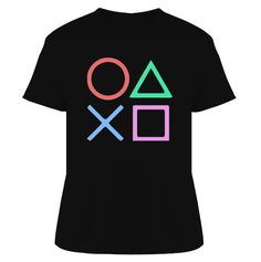 18.00 Playstation Gamer Buttons T Shirt [ 219531_Black ] - www.studiotees.com