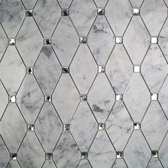Ivy Hill Tile Mirage Lozenge Carrara in. x 8 mm Marble and Glass Wall Mosaic - The Home Depot Marble Mosaic, Glass Mosaic Tiles, Mosaic Wall, Mirror Tiles, Mirror Bathroom, Glass Tile Bathroom, Mirrored Tile Backsplash, Carrara Marble Bathroom, Master Bathroom