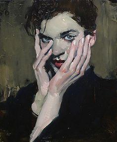 """Hands to Face"" - Malcolm T. Liepke (b. 1953), oil on canvas, 2016 {figurative art beautiful female head woman portrait painting #loveart}"