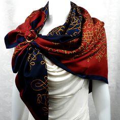 Authentic Vintage Hermes Silk Scarf Vinci Navy - Rare