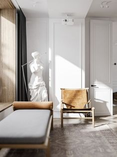 Bright and stylish apartment design // cgi visualization by Denis Krasikov & Cartelle Design. Visualization & Models done in Autodesk Max & Corona Renderer. Interior Desing, Interior Inspiration, Neoclassical Interior Design, Marble Interior, Interior Colors, Home Decor Bedroom, Living Room Decor, Living Room Kitchen, Ideas Actuales