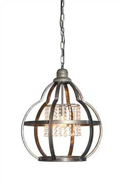 Metal Orb Pendant Light with Crystals