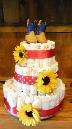 Simple Cowboy themed Diaper Cake.