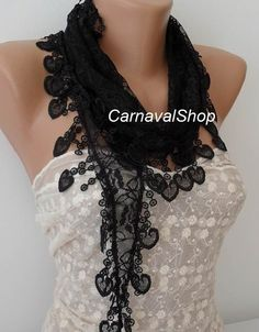 Lace scarf with lace edge- Black Scarf-Women Scarf.Shawl