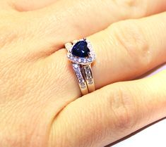Sapphire Heart Promise Ring With Band - Blue Cubic Zirconia - Beautiful Promise Rings