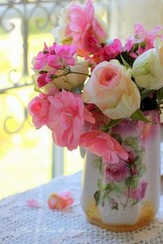 Floral Arrangement in Antique Pitcher ~ Aiken House & Gardens: A Pink Tea