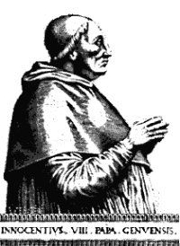 Killings of the Christian Cathar female bishops were called witchcraft persecutions during the genocide of the Christian Cathars. Picture: Pervert pope Innocent VIII, representative of the Satan god