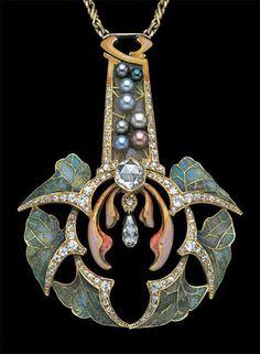 'Feuilles d'Automne' by Philippe Wolfers Pendentif, (1858-1929, Belgian), gold/plique-a-jour enamel/pearl/diamond, Belgian, c.1902.
