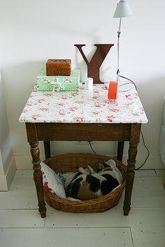 Cat bed. Would also be cute with a hammock tied to the legs/under the table