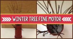 A fun fine motor winter tree craft activity constructing winter tree using natural and recycled materials; for preschool, pre-k, and kindergarten. Science Experiments For Preschoolers, Preschool Science Activities, Preschool Books, Science For Kids, Stem Preschool, Science Tools, Earth Science, Kindergarten Science, Kindergarten Classroom